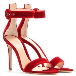 AUTH GIANVITO ROSSI Portofino red velvet sandals